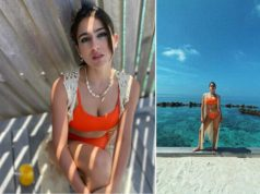 sara ali khan fluants her sexy figure in orange bikini