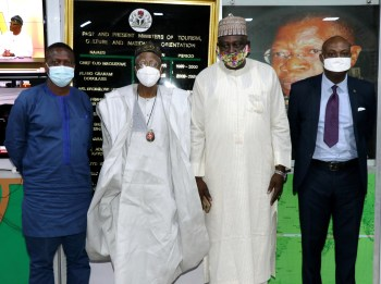 First picture, L-R: Secretary General, Pan-African Writers' Association (PAWA), Dr. Wale Okediran; Minister of Information and Culture, Alhaji Lai Mohammed; former President of the Association of Nigerian Authors, Mr. Denja Abdullahi and the Director, Entertainment and Creative Services, Federal Ministry of Information and Culture, Mr. Babajide Ajibola, when the Secretary General of PAWA paid a courtesy visit to the Minister on Friday.