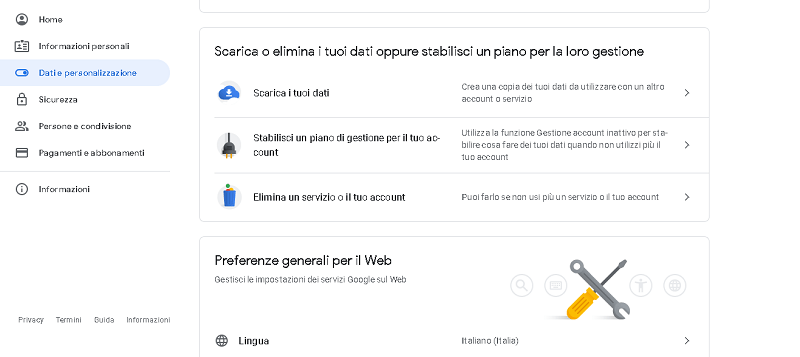 eliminare account google