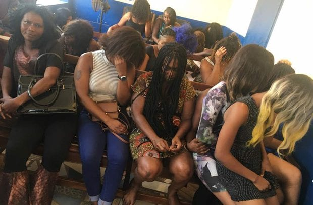11 prostitutes arrested after their client falls to death while in action
