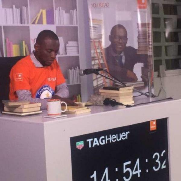 "•Record breaker Olawunmi Bayode during the ""Longest Marathon Reading Aloud"" exercise in Lagos"