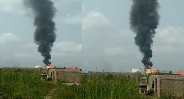 •Scene of the tank-farm explosion in Navy Town, Ojo Area of Lagos State. Photo: Channels TV.