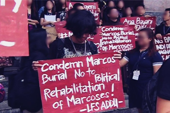 Protesters Urge Duterte To Prevent Marcoses From Getting Back to Power