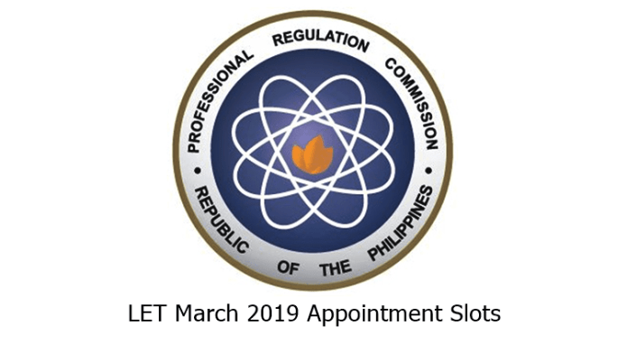 LET March 2019 Appointment Slots