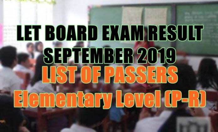 let board exam elem p-r