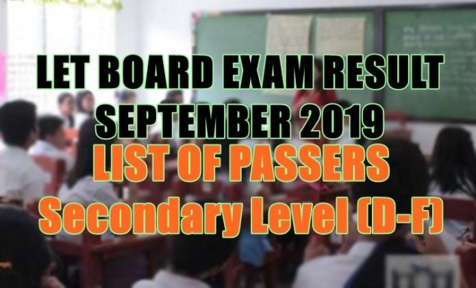 let board exam sec d-f