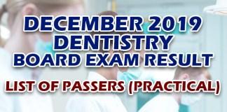 Dentist Board Exam Result December 2019