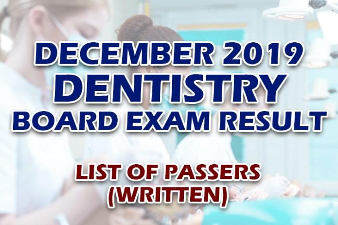 Dentist Board Exam Results December 2019