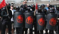 shields helmets is ANTIFA a political party are ANTIFA violent riot protestors