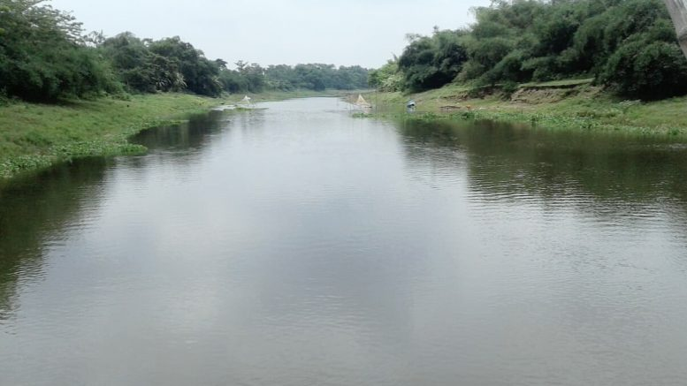 A polluted stretch of Churni river