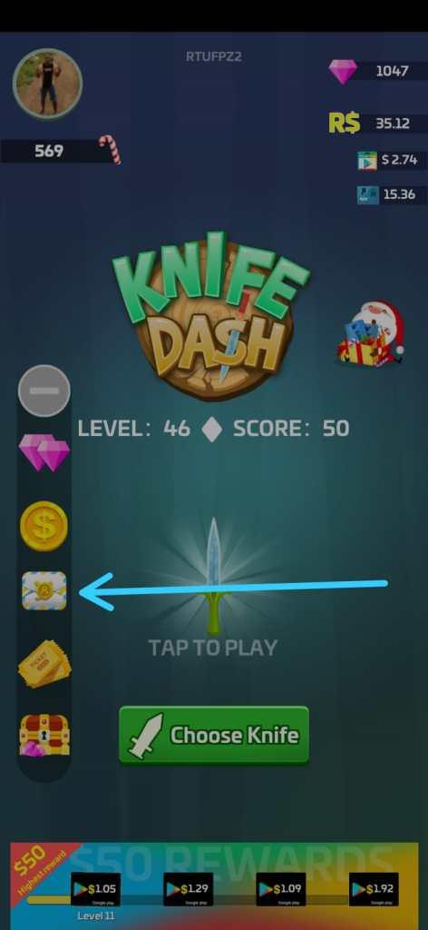 Knife Dash, Passo 1.1