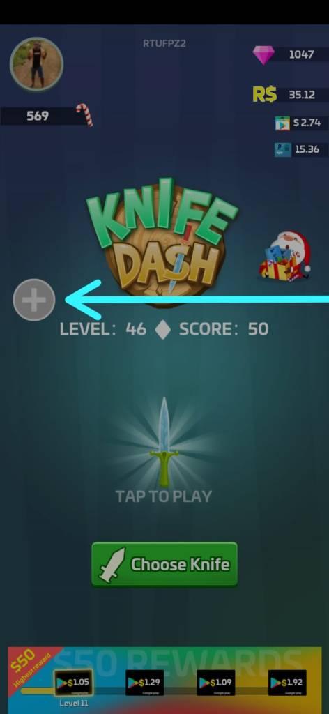 Knife Dash, Passo 1