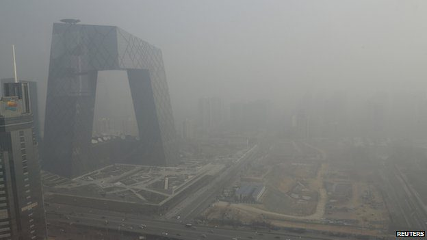 A thick haze of pollution envelopes Beijing - but scientists say the toxic air travels much further afield