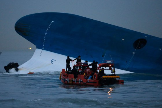 Maritime police search for missing passengers near capsized South Korean ferry