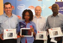 L-R: Stuart Pann, Corporate Vice President & General Manager Business Management Group (SMG), Intel Corporation, Olaide Balogun, Managing Director, Brian Integrated System Limited, Adrian Criddle, Sales Director, Intel Corporation and Bunmi Ekundare, Country Manager, Intel Corporation at the launch of BrianTab B10i powered by Intel held today in Lagos, 23 L-R: Stuart Pann, Corporate Vice President & General Manager Business Management Group (SMG), Intel Corporation, Olaide Balogun, Managing Director, Brian Integrated System Limited, Adrian Criddle, Sales Director, Intel Corporation and Bunmi Ekundare, Country Manager, Intel Corporation at the launch of BrianTab B10i powered by Intel held today in Lagos, 23rd May, 2014. rd May, 2014.