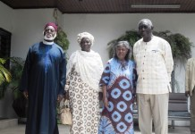 Former President Kufuor (right) with his spouse to his immediate right and former President Abubakar (left), with his spouse to his immediate left.