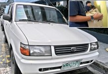 NBI agents recover explosives found inside a Toyota Revo (inset) at the parking lot of the NAIA Terminal 3 in Pasay yesterday. EDD GUMBAN