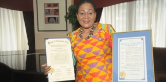 Mrs Lordina Mahama Honoured by the Senate of the State of New Jersey and the City of Newark for her contribution to Humanity an
