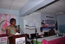 Mrs Magdalene Kannae Head of Gender and Social Development Centre addressing the launch