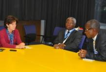 Dr Isabelle Nuttall, WHO Director, Global Capacities, Alert and Response Health Security and Environment; Mr Sammie Eddico, Ghana?s Ambassador to Switzerland; and Mr Francis Ameyibor, GNA Deputy News Editor