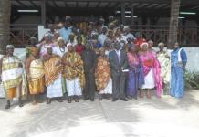 Mr A. K. Ahiabah (front roll, 5th left), Director Ministry of Chieftaincy and Traditional Affairs, with Nana Abena Boatemaa I, Paramount Queen Mother, Odomase Traditional Council to his left in a group photo with participants.