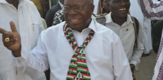 Mr. Abodakpi interacting party members at the NDC office after the balloting