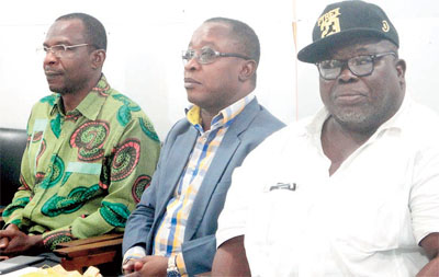 Dr. Affail Monnie, Dr. Dan Markin and Jewel Akah at the press interaction