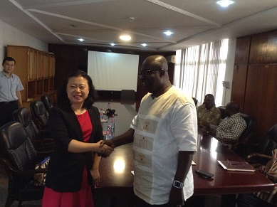 Chinese Ambassador in a Handshake with Dr Toni Aubynn