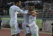Algeria?s El Arabi Soudani (15) celebrates with teammates after scoring against Slovenia during their international friendly soccer match in Algiers March 5, 2014. REUTERS/Louafi Larbi