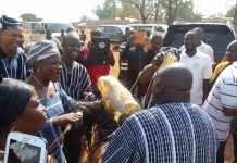 Mr Debrah sharing greetings with some sub chiefs of Damongo Traditional Council and the people at the Yagbonwura Palace