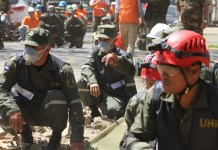 Elements of Nicaraguan Army participate in an earthquake drill in Managua, Nicaragua, on March 16, 2015. An earthquake drill was held here on Monday.(Xinhua/John Bustos) (rtg)