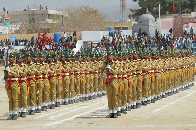 Pakistani cadets march during a rehearsal for the upcoming Pakistan Day celebrations in southwest Pakistan's Quetta on March 22, 2015. On March 23, 1940, the historic Pakistan Resolution was adopted in the eastern city of Lahore, which led to creation of a separate homeland for the Muslims of the Indian Subcontinent. (Xinhua/Irfan)