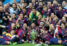 Players of FC Barcelona celebrate after the UEFA Champions League final match between Juventus F.C. and FC Barcelona in Berlin, Germany, June 6, 2015. FC Barcelona won 3-1 and claimed the title. (Xinhua/Zhang Fan)