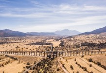 The Padre Tembleque aqueduct, located between the Mexican states of Mexico and Hidalgo, in this May 28, 2012 file photo. The Padre Tembleque Aqueduct was declared as a UNESCO World Heritage site on Sunday, July 5, 2015. (Xinhua/INAH/NOTIMEX)