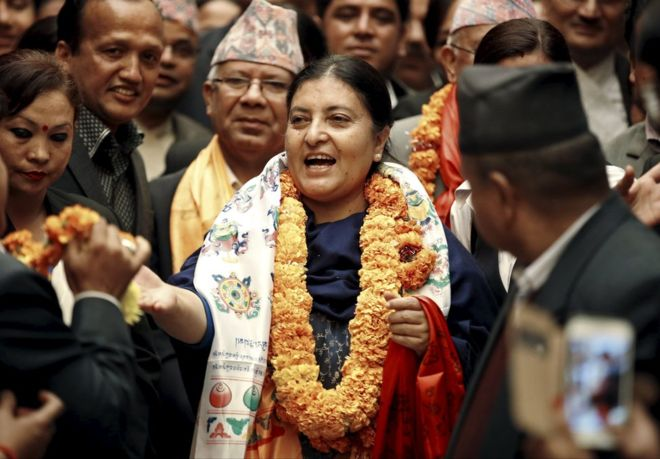 Ms Bhandari (centre) was elected president on Wednesday night by Nepal's parliament