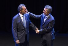 "Daniel Scioli (L), presidential candidate of the ruling Front for the Victory, and Cambiemos Mauricio Macri, presidential candidate of the opposition front, attend the presidential debate ""Argentina Debate"" in Buenos Aires, capital of Argentina, Nov. 15, 2015. Argentina will hold presidential election on Nov. 22. (Xinhua/Martin Zabala) (da) (ah)"