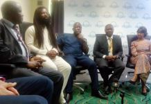 Picture of dignitaries at the Clean Cooking Forum 2015 (from right): Radha Muthiah, Mr Emmanuel Armah-Kofi Buah, Mr John Ackon, Rocky Dawuni and Mr Nicholas Manu