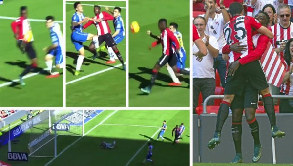 Inaki Williams's scoring and celebration in sequence