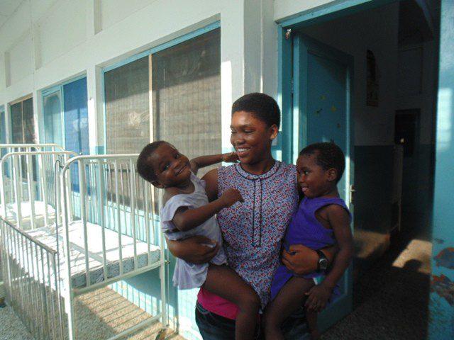Anita Nana Asabea Akonor with the children