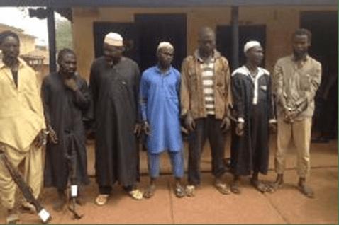 The seven suspects under arrest