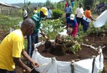 NYC members making the kitchen gardens to serve orphans