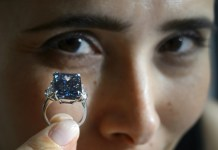 """AFP/File / Fabrice Coffrini The 14.62-carat """"Oppenheimer Blue"""" is the largest stone in the exceptionally-rare Fancy Vivid Blue category ever to go under the hammer, according to Christie's, which has valued the gem between $38 million and $45 million"""