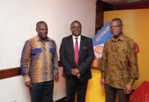 From Left-the Minister of Petroleum, the Managing Director of Vivo Energy Ghana and the Minister of Tranport at the launch of Ezypass card