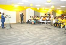 The CEO of MTN Ghana Mr Ebenezer Asante delivering a speech at the Launch