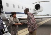 Vice President Amissah-Arthur welcoming President Ellen Johnson Sirleaf to Ghana.