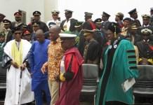 Dignitaries at the event (from left): General Hamidu, Mr Benjamin Bewa-Nyog Kombour, Mr Paa Kwesi Bekoe Amissah-Arthur, Rear Admiral Seth Amoama, and Professor Franklyn A. Manu.
