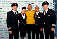 Will Smith Poses with British Airways Pilots and Crew following an exclusive Q&A session with the airline