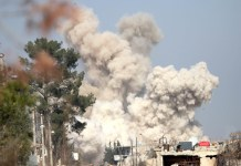 Somkes rise following airstrike targeting rebels in Daraya, southwest of the capital Damascus of Syria, on Feb. 24, 2016. (Xinhua/Yang Zhen) (zw)