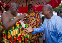 John Mahama exchanging pleasantries with Nana Akufo-Addo