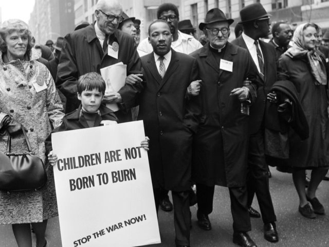 Dr. Martin Luther King, Jr. and Dr. Benjamin Spock at UN Demonstration against Vietnam War, April 15, 1967